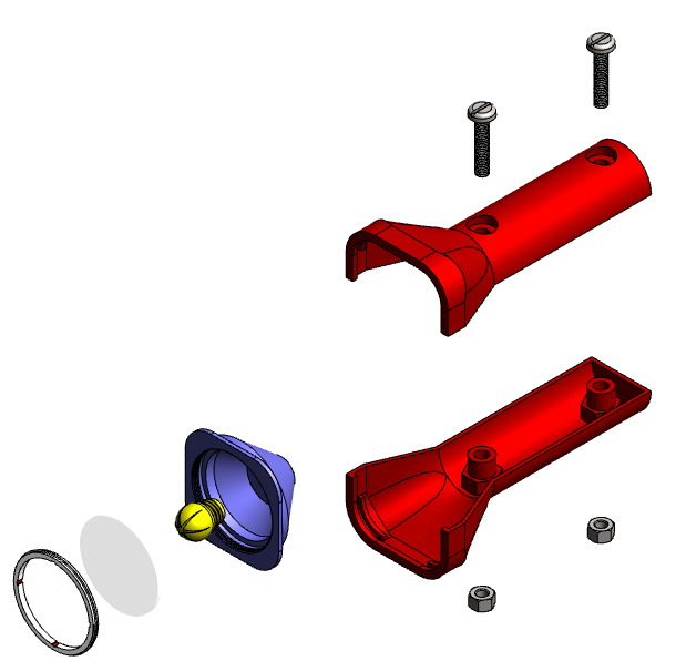 A computer aided design (CAD) model of a torch, with a Bill of Materials (BOM) containing ten parts.