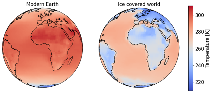Output from two CESM2 (WACCM6) simulations comparing two planets, one of which is much colder than the other, where all the land is covered in ice, and the oceans are much colder, with a larger sea-ice extent.
